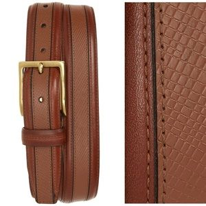 Cole Haan Brown Textured Inlay Leather Belt 38
